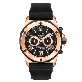 Image of Men's Bulova Marine Star Rose Chronograph Watch 98B104 with complimentary Black Lacquer Wrist Watch Box