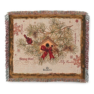 Image of Cardinals and Birdhouse Throw