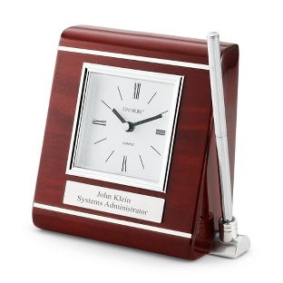 Image of Wooden Desk Clock with Pen