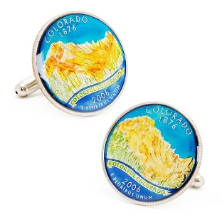 Image of Colorado Hand-painted State Quarter Cuff Links with complimentary Weave Texture Valet Box