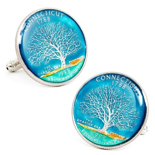 Image of Connecticut Hand-painted State Quarter Cuff Links with complimentary Weave Texture Valet Box