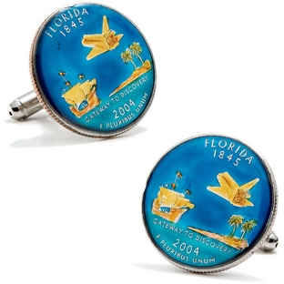 Image of Florida Hand-painted State Quarter Cuff Links with complimentary Weave Texture Valet Box
