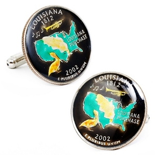Image of Louisiana Hand-painted State Quarter Cuff Links with complimentary Weave Texture Valet Box