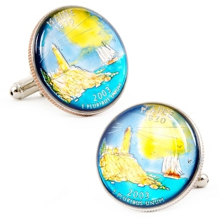 Image of Maine Hand-painted State Quarter Cuff Links with complimentary Weave Texture Valet Box