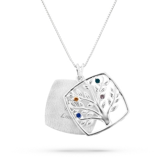 Image of Sterling Mother's Love 4 Birthstone Family Tree Necklace with complimentary Filigree Keepsake Box
