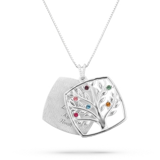 Image of Sterling Mother's Love 6 Birthstone Family Tree Necklace with complimentary Filigree Keepsake Box
