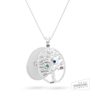Image of Sterling Oval Legacy 3 Birthstone Family Tree Necklace with complimentary Filigree Keepsake Box