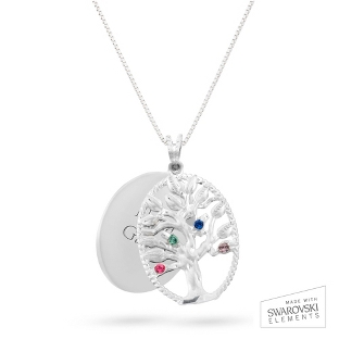 Image of Sterling Oval Legacy 4 Birthstone Family Tree Necklace with complimentary Filigree Keepsake Box