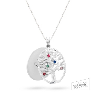 Image of Sterling Oval Legacy 5 Birthstone Family Tree Necklace with complimentary Filigree Keepsake Box