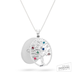 Image of Sterling Oval Legacy 6 Birthstone Family Tree Necklace with complimentary Filigree Keepsake Box