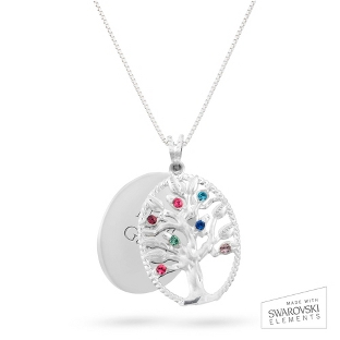 Image of Sterling Oval Legacy 7 Birthstone Family Tree Necklace with complimentary Filigree Keepsake Box