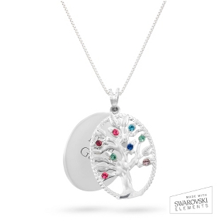Image of Sterling Oval Legacy 8 Birthstone Family Tree Necklace with complimentary Filigree Keepsake Box