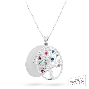 Image of Sterling Oval Legacy 9 Birthstone Family Tree Necklace with complimentary Filigree Keepsake Box
