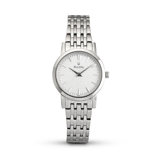 Image of Ladies Bulova Dress Silver Dial Watch 96L131 with complimentary Filigree Oval Box