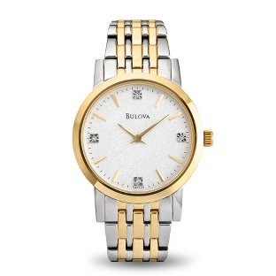 Image of Ladies Bulova Two Tone Watch Diamond Accents with complimentary Filigree Keepsake Box