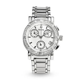 Engraved Ladies Bulova® Diamond Chronograph Watch