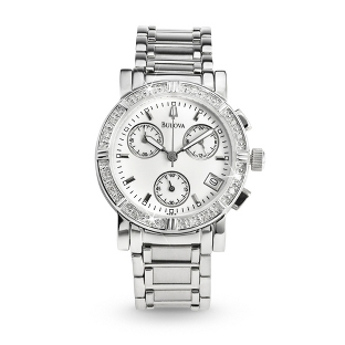 Image of Ladies Bulova Diamond Chronograph Watch 96R19 with complimentary Classic Beveled Edge Round Keepsake Box