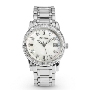 Image of Ladies Bulova Diamond Accented Watch 96R105 with complimentary Classic Beveled Edge Round Keepsake Box
