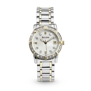 Image of Ladies Bulova 2 Tone Diamond Accented Watch 98R107 with complimentary Classic Beveled Edge Round Keepsake Box