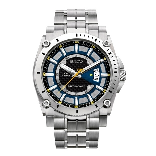 Image of Men's Bulova Precisionist Champlain Watch 96B131 with complimentary Black Lacquer Wrist Watch Box