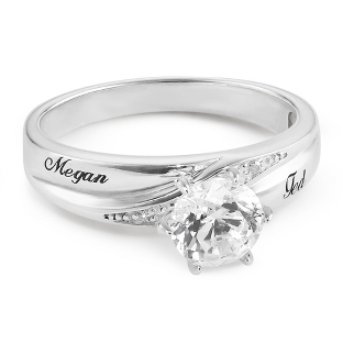 Image of Platinum Plated Sterling Silver CZ Ring with complimentary Filigree Keepsake Box