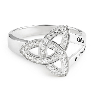 Image of Sterling Diamond Trinity Knot Couple's Ring with complimentary Filigree Keepsake Box