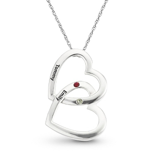 Image of Sterling Silver Double Hearts Birthstone Pendant with complimentary Filigree Keepsake Box