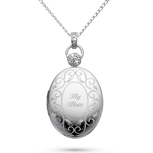Image of Platinum over Sterling Oval Locket with Diamond Accents with complimentary Filigree Keepsake Box