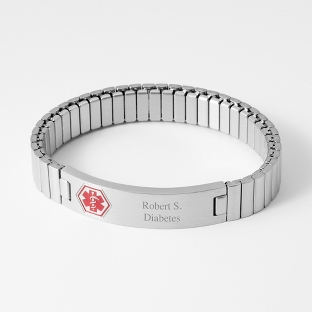 Image of Small Expansion Style Medical ID Bracelet with complimentary Round Keepsake Box