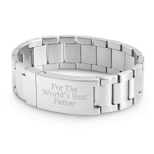 Image of Stainless Steel Watch Band Style ID Bracelet with complimentary Tri Tone Valet Box