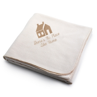Image of Dark Tan House on Winter White Fleece Blanket