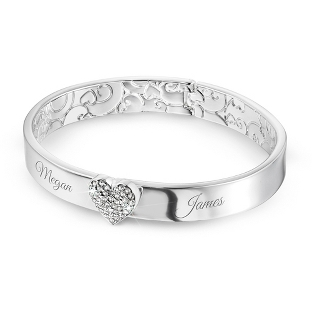 Image of Button Heart Bangle with complimentary Filigree Keepsake Box