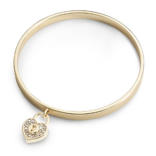 Image of Gold Padlock Bangle with complimentary Filigree Keepsake Box