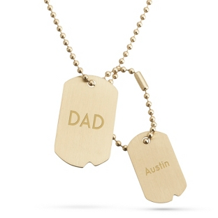 Image of Brushed Gold Finish Double Dog Tag -Vertical with complimentary Tri Tone Valet Box