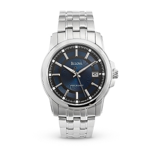 Image of Men's Bulova Precisionist Blue Dial Watch 96B159 with complimentary Black Lacquer Wrist Watch Box