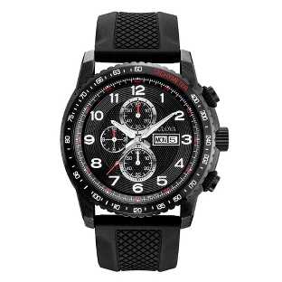 Image of Men's Bulova Marine Star Sport Watch 98C112 with complimentary Black Lacquer Wrist Watch Box