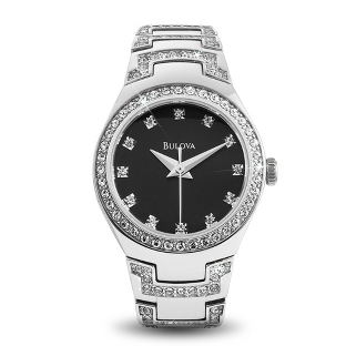 Image of Ladies Bulova Crystal Watch 96L170 with complimentary Filigree Keepsake Box