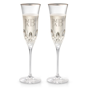Image of Waterford Lismore Essence Platinum Champagne Flutes