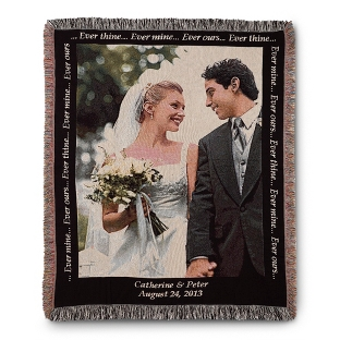 Image of Portrait Wedding Photo Throw with Black Border