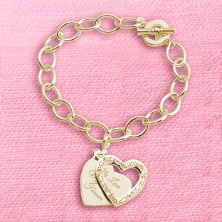 Image of Gold Pave Swing Heart Charm Bracelet with complimentary Filigree Keepsake Box