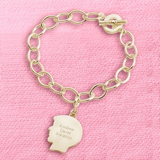 Image of Gold Boy's Silhouette Charm Bracelet with complimentary Filigree Keepsake Box