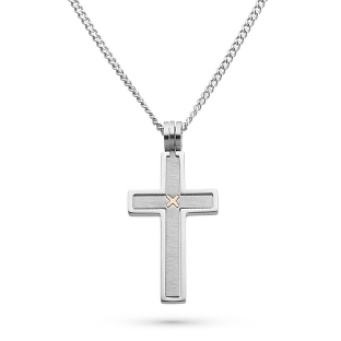 Image of Stainless Steel Cross Pendant with 14k Accent