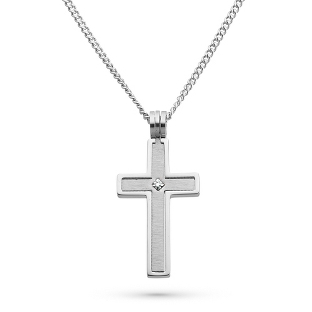Image of Stainless Steel Cross Pendant with Diamond Accent