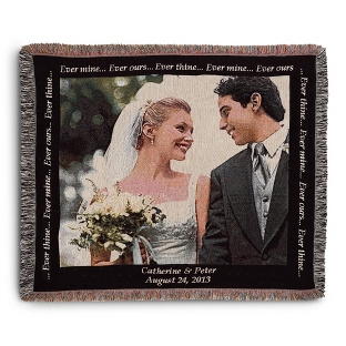 Image of Landscape Wedding Photo Throw with Black Border