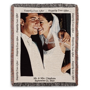Image of Portrait Wedding Photo Throw with Natural Border