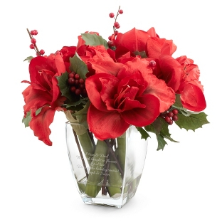 Image of Amaryllis and Berry Flower Arrangement