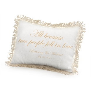 Image of All Because Two People Fell in Love Pillow with Gold Print