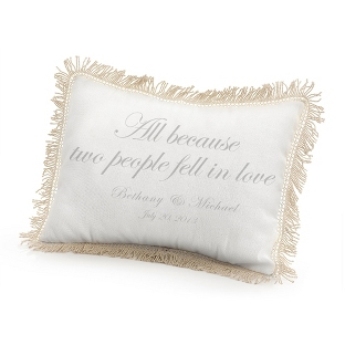 Image of All Because Two People Fell in Love Pillow with Silver Print