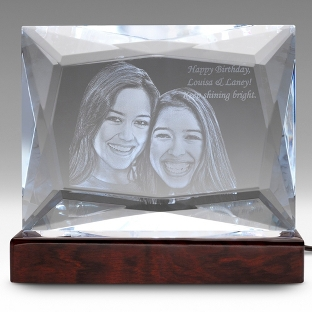Image of Multi-Facet 3D Photo Crystal on Rosewood Base
