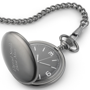 Image of Black Dial Gunmetal Pocket Watch